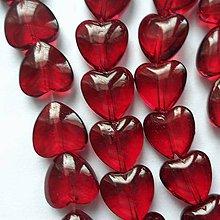 Korálky - Sklenené srdce-1ks (10mm-tm.červená) - 10065665_