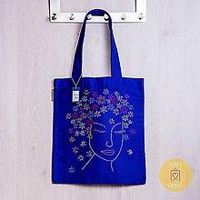 Nákupné tašky - Claudianum: Vyšívaná nákupná taška Tvár (Modrá) - 10065062_