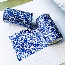 Papier - dekoračná papierová páska Modrý ornament - 10062475_