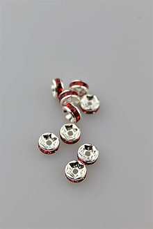 Galantéria - štrasová korálka rondelka 7mm červené kamienky - 10061998_