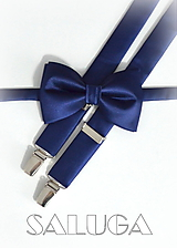 Doplnky - Pánsky motýlik a traky - tmavomodrý - navy blue - modrý - 10065003_