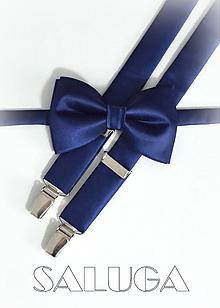 Doplnky - Tmavo modrý pánsky motýlik + traky - navy blue - 10065000_