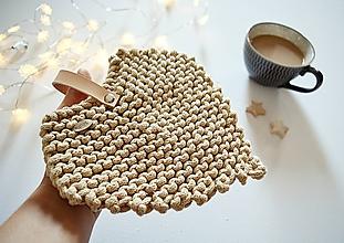 Úžitkový textil - Pletená podložka - srdiečkový lístok hnedý - 10063763_