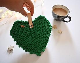 Úžitkový textil - Pletená podložka - srdiečkový lístok zelený - 10063810_