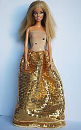 Hračky - Flitrové zlaté šaty pre Barbie - 10065536_