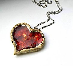 Náhrdelníky - Keramický šperk - Srdce výrazné so sklom - 10062795_