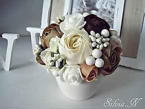 Dekorácie - Kvetináčik v kávovom odtieni. - 10063660_