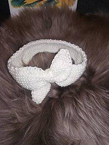 Detské čiapky - Pletená biela čelenka - 10065579_