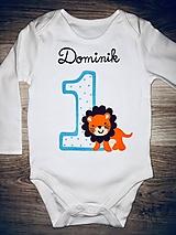 Detské oblečenie - Maľované narodeninové body levík - 10064552_