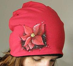 Čiapky - Zimná čiapka s vianočným kvetom - 10064321_