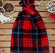 Úžitkový textil - Zerowaste látkové vrecúško, káro - 10064515_