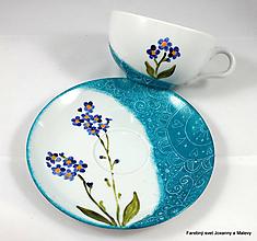 Nádoby - porcelánová šálka Nezábudky - 10064902_