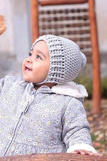 Detské čiapky - Čapička s brmbolcom- šedá (z talianskej bavlny) - 10064822_