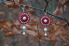 Náušnice - Červené velúrovky - 10064633_