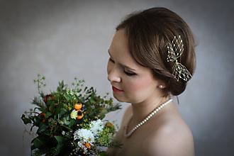 Ozdoby do vlasov - Zlatá sponka z francúzskeho závoja / fascinátor - 10064145_