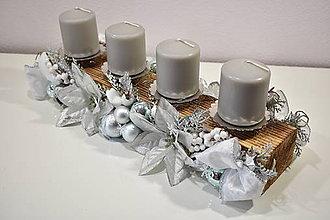 Dekorácie - Adventný svietnik: Strieborné Vianoce 40410 - 10064573_
