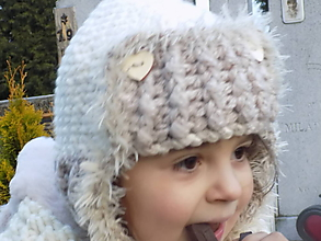 Detské čiapky - čiapka detská hačkovaná bielo -béžová ...strapatá - 10064998_