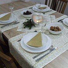 Úžitkový textil - Zlaté srdiečka a ornamenty na smotanovej(1) - šerpa naprieč stola 120x40 - 10065058_