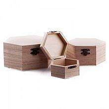 Polotovary - Sada 3ks šesťuholníkových krabičiek - 10063533_