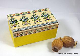 Krabičky - šperkovnica Folklórna žltomodrá - 10064669_