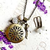 - Moonstone & Pearl Locket Necklace & Earrings / Sada medailonu a náušníc s mesačným kameňom, perlou a krištáľom /1098 - 10066398_
