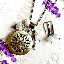Sady šperkov - Moonstone & Pearl Locket Necklace & Earrings / Sada medailonu a náušníc s mesačným kameňom, perlou a krištáľom /1098 - 10066398_