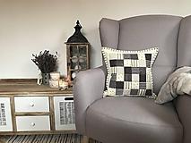 Úžitkový textil - vzor  šedo - béžovo - smotanový - 10066709_