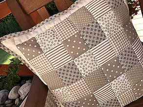 Úžitkový textil - vzor  šedo - béžovo - smotanový  (vankúš  40x40 cm  - Šedá) - 10066764_
