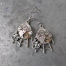 Náušnice - Pavučina- steampunkové náušnice se strojky hodinek - 10067063_