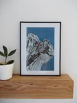 Grafika - Modré hory linoryt - 10069380_