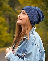 Čiapky - Čepice modrý - melír - 10067109_