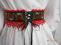 Opasky - FLORAL FOLK - folkový opasok so šnurovačkou - 10069919_