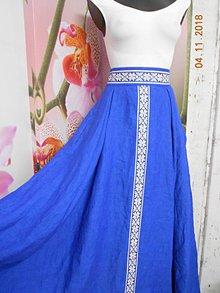 Sukne - Floral folk - ľanová dlhá sukňa s vačkami - 10069834_