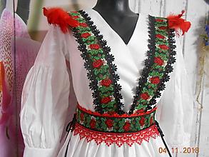 Opasky - Floral folk - krídielká s červenými pierkami a opaskom - 10070265_