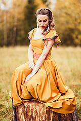 Šaty - Horčicové dlhé šaty  - 10066684_