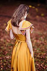 Šaty - Horčicové dlhé šaty  - 10066690_