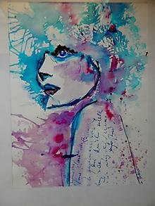 Kresby - Akvarelový obraz  Woman - Smútok - 10068165_