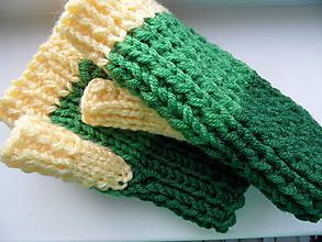 Rukavice - bezprstové rukavičky na zeleno - 10068630_