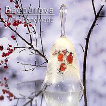 Kytice pre nevestu - Vianočný sklenený zvonček - 10067497_