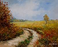 Obrazy - Podzimní cesta polem - orig. olej - 10068425_