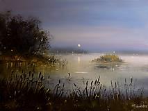 Obrazy - NEPRODEJNÉ !!!  Noční hladina rybníka - orig. akryl - 10069698_