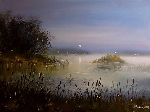 NEPRODEJNÉ !!!  Noční hladina rybníka - orig. akryl