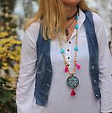 Náhrdelníky - Tyrkysový strapcový boho náhrdelník - 10067670_