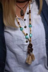 Náhrdelníky - Strapcový bohémsky náhrdelník - 10067764_