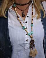 Náhrdelníky - Strapcový bohémsky náhrdelník - 10067766_