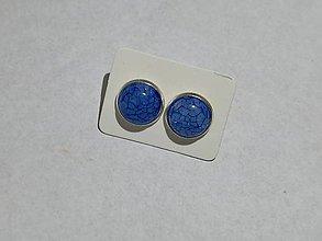 Náušnice - Popukané napichovačky (Modrá) - 10069282_