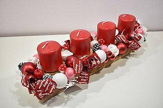 Svietidlá a sviečky - Adventný svietnik: Červeno-biele Vianoce 40406 - 10068286_
