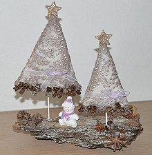 Dekorácie - Vianočné dekorácie na kôre (Fialová) - 10069973_