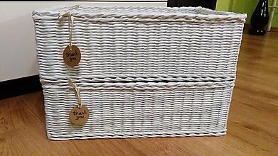 Košíky - Biely košík s kvetmi - 10066632_