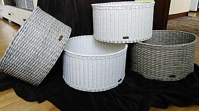 Košíky - Oválne pletené košíky - 10067079_